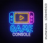 game console neon sign  bright... | Shutterstock .eps vector #1206440323