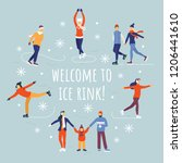 people ice skating vector... | Shutterstock .eps vector #1206441610
