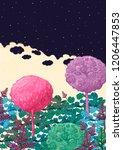 a fairy forest under a starry... | Shutterstock . vector #1206447853