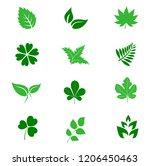 set of green leaves design...   Shutterstock .eps vector #1206450463