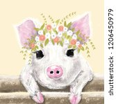 Cute Little Pig With Floral...