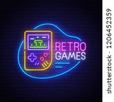 retro games neon sign  bright... | Shutterstock .eps vector #1206452359