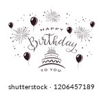black text happy birthday with... | Shutterstock .eps vector #1206457189