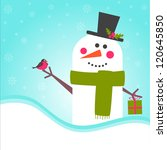 christmas card  with  snowman | Shutterstock .eps vector #120645850