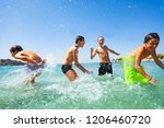 four happy boys playing at... | Shutterstock . vector #1206460720