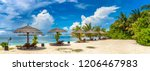 panorama of wooden sunbed and... | Shutterstock . vector #1206467983