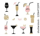 set of hand drawn cocktails.... | Shutterstock .eps vector #1206472099