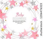 baby shower girl invitation... | Shutterstock .eps vector #1206476323