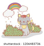 cute cat with bushes and... | Shutterstock .eps vector #1206483736
