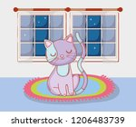cute cat animal in the rug with ... | Shutterstock .eps vector #1206483739