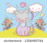 cat with kawaii clouds and... | Shutterstock .eps vector #1206483766