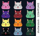 bunny rabbit faces with many...   Shutterstock .eps vector #1206491443