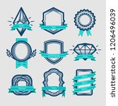 vector set badge  ribbons and... | Shutterstock .eps vector #1206496039