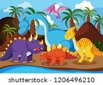 flat dinosaur in nature... | Shutterstock .eps vector #1206496210