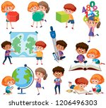 set of student with learning... | Shutterstock .eps vector #1206496303