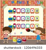 math counting game template... | Shutterstock .eps vector #1206496333
