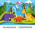 flat dinosaur in nature... | Shutterstock .eps vector #1206496396