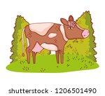 cow in nature cartoon | Shutterstock .eps vector #1206501490