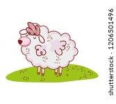 sheep in nature cartoon | Shutterstock .eps vector #1206501496