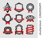 vector set badge  ribbons and... | Shutterstock .eps vector #1206502699