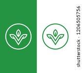 letter v with leaf logo design... | Shutterstock .eps vector #1206505756