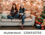 friends watching comedy at home ... | Shutterstock . vector #1206510703