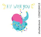 funny elephant flying. cartoon...   Shutterstock .eps vector #1206518413