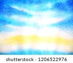 blue sky snow christmas... | Shutterstock . vector #1206522976