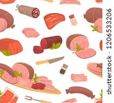 meat food  steak and sausages... | Shutterstock .eps vector #1206533206
