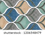 colorful digital wall tiles... | Shutterstock . vector #1206548479