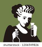 scientific woman testing flasks   Shutterstock .eps vector #1206549826