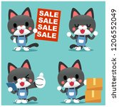 vector set of cute cat... | Shutterstock .eps vector #1206552049