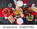 baked turkey. christmas dinner. ... | Shutterstock . vector #1206557986