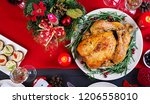 baked turkey. christmas dinner. ... | Shutterstock . vector #1206558010