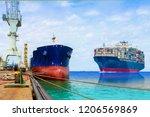 big cargo sailing in the sea ... | Shutterstock . vector #1206569869