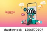 shopping online on website or... | Shutterstock .eps vector #1206570109