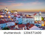 skyline of alfama at lisbon ... | Shutterstock . vector #1206571600
