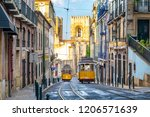 tram on line 28 in lisbon ... | Shutterstock . vector #1206571639