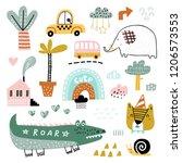 doodle set  animals  plants ... | Shutterstock .eps vector #1206573553
