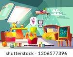 attic child room interior... | Shutterstock .eps vector #1206577396
