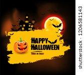halloween background. happy...   Shutterstock .eps vector #1206581143