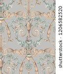 baroque damask pattern ... | Shutterstock . vector #1206582520