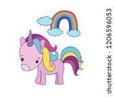 unicorn cute little pony  baby... | Shutterstock .eps vector #1206596053