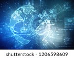 2d illustration technology... | Shutterstock . vector #1206598609