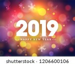 happy new year 2019 text on... | Shutterstock .eps vector #1206600106