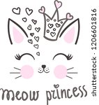 Stock vector meow princess cartoon cute cat wearing a princess crown with hearts for design prints poster 1206601816