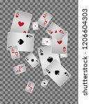 playing cards falling on... | Shutterstock .eps vector #1206604303
