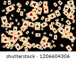 playing cards on black... | Shutterstock .eps vector #1206604306