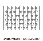 54 white puzzles pieces... | Shutterstock .eps vector #1206609880