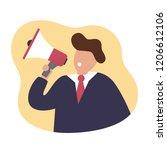business man and loudspeaker.... | Shutterstock .eps vector #1206612106